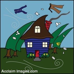 Clip Art of a House Caught In A Hurricane.