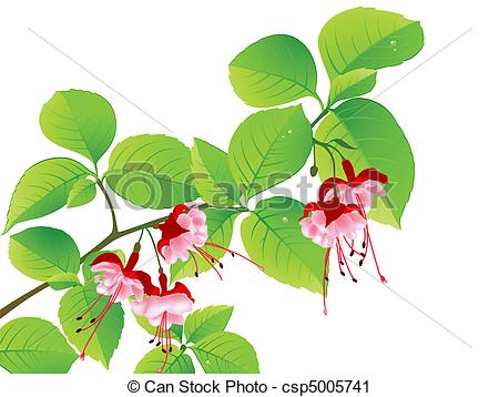 Vector Clip Art of green flowering branch of tropical tree on a.