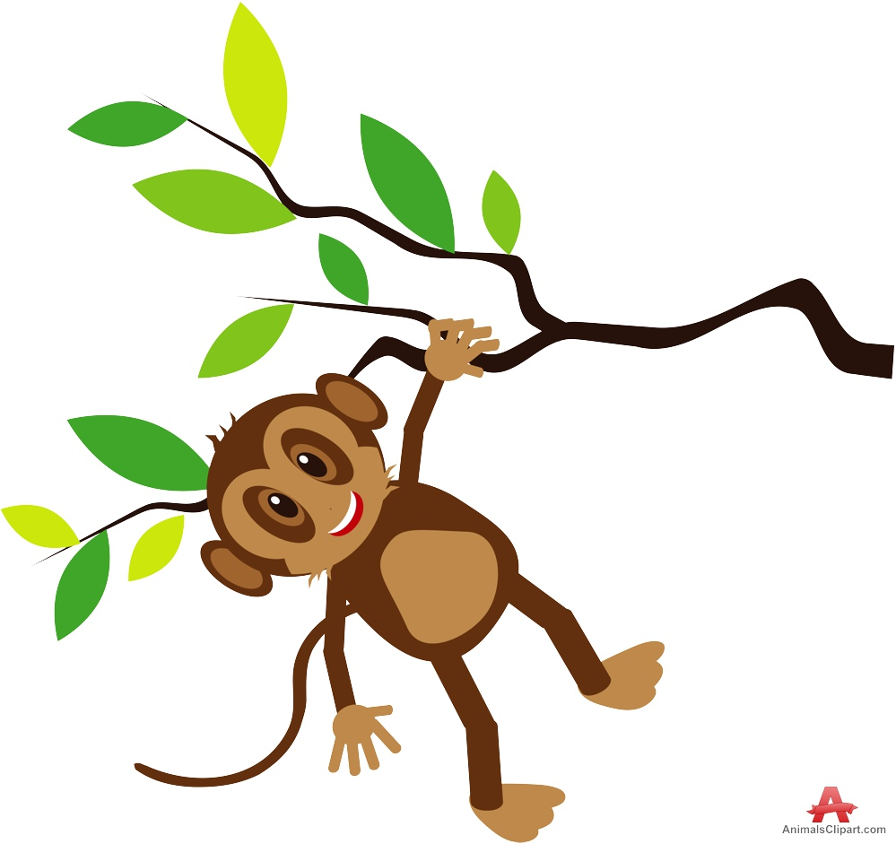 Happy Monkey Holding Tree Branch Clipart.