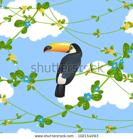 Seamless Pattern With Beautiful Toucan Sitting On Tropical Tree.