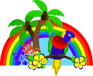 Colorful tropical tree clipart.
