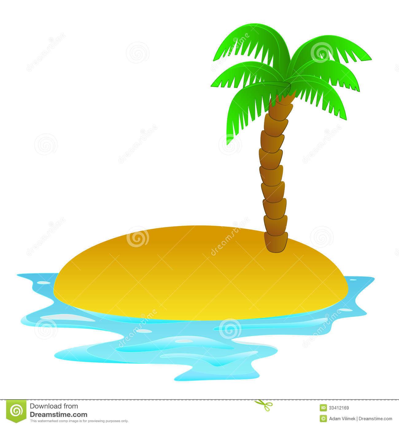 Tropical Island Vacation Clipart.