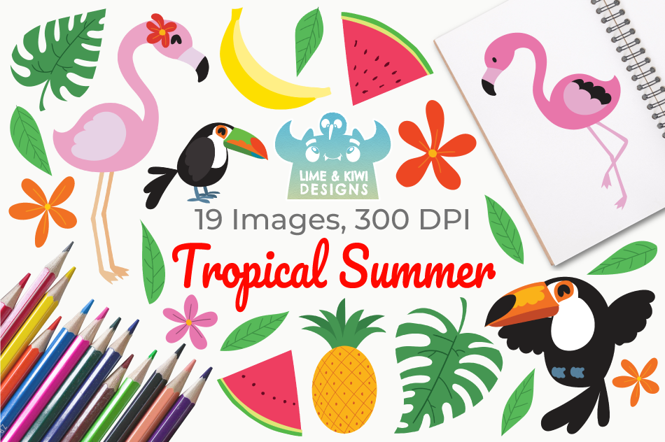 Tropical Summer Clipart, Instant Download Vector Art By Lime.