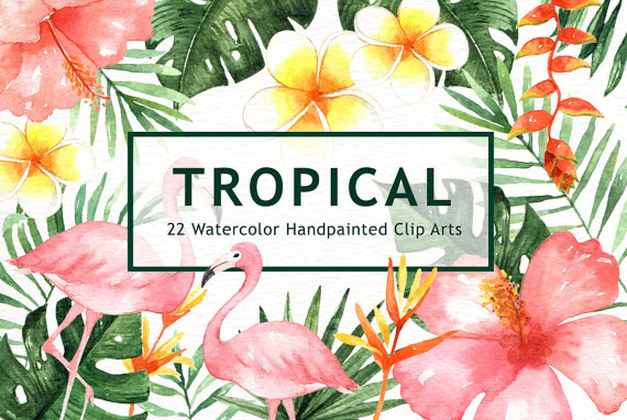 Tropical Leaves Watercolor Clipart, watercolor flower.
