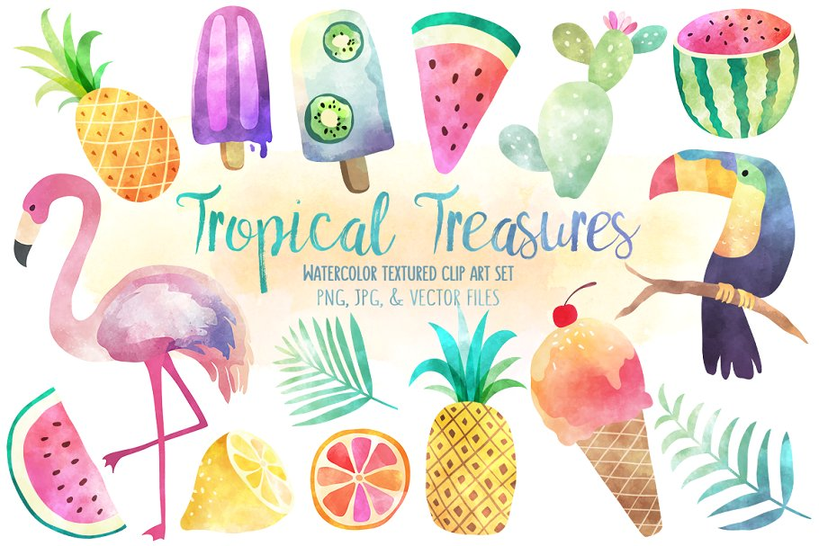 Tropical Treasures Watercolor Bundle.