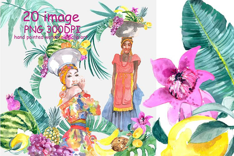 Tropical Watercolor Clipart.