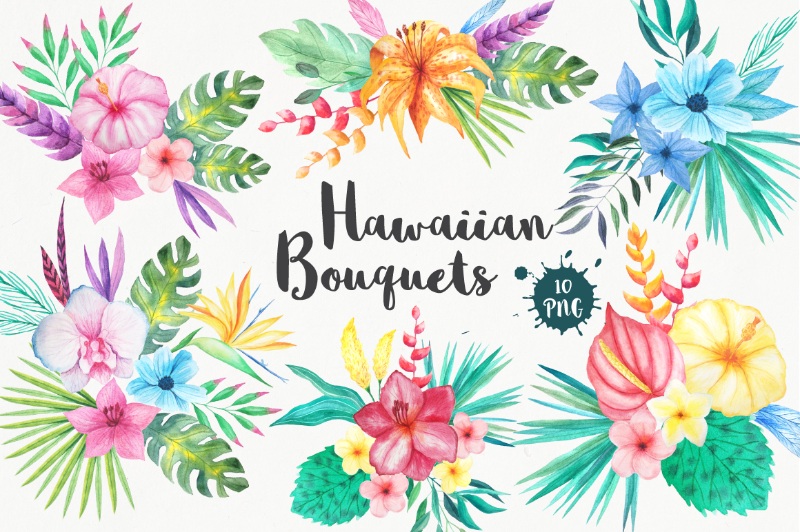 Tropical Bouquets Clipart Set.