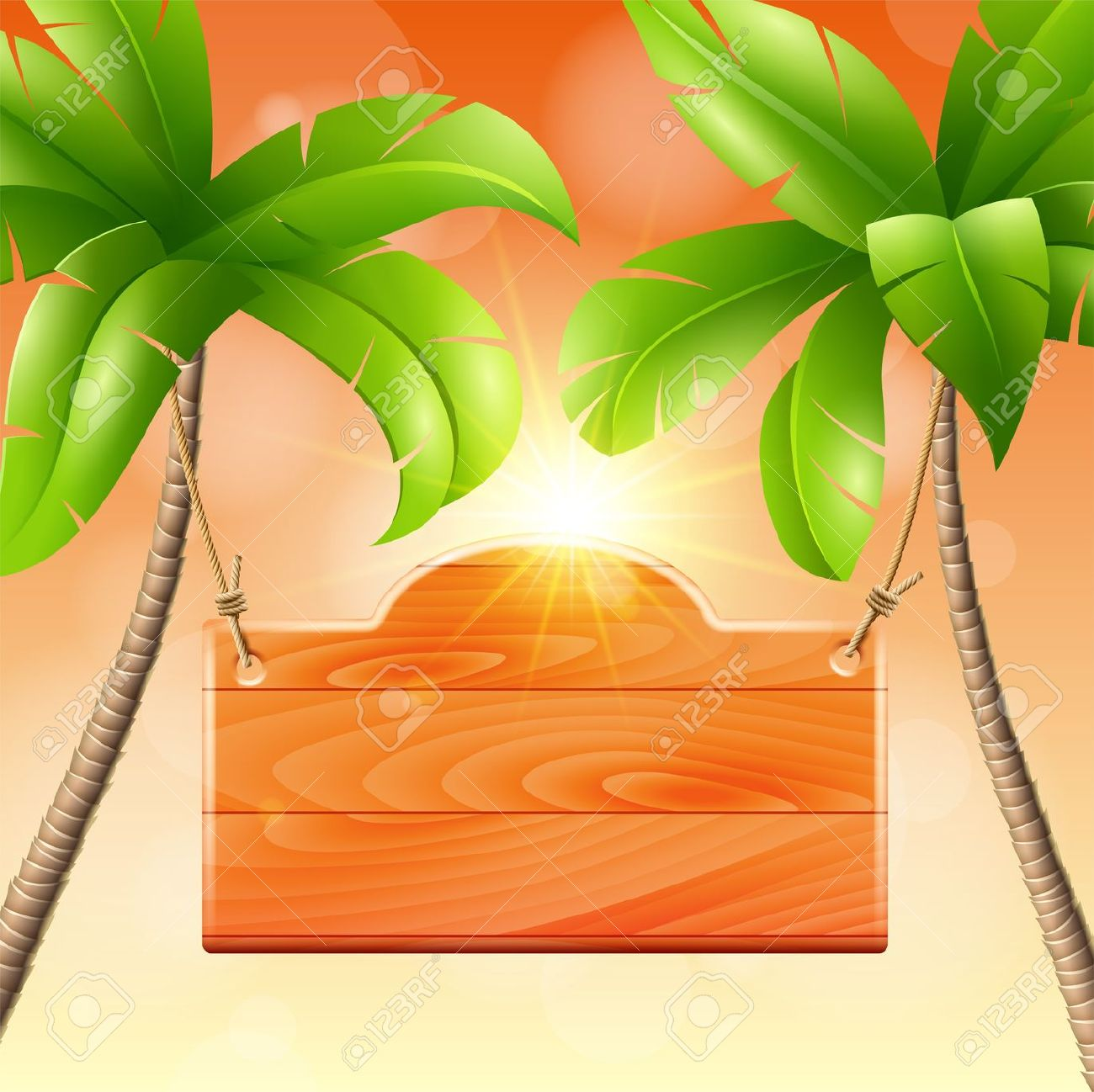 Wooden Signboard On A Palm Tropical Design Royalty Free Cliparts.
