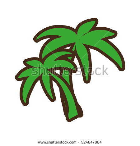 Quirky Cartoon Palm Tree Stock Vector 52873858.