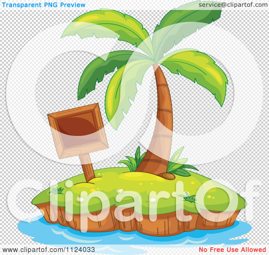 Clipart Of A Tropical Island With A Wood Sign And Palm Tree.