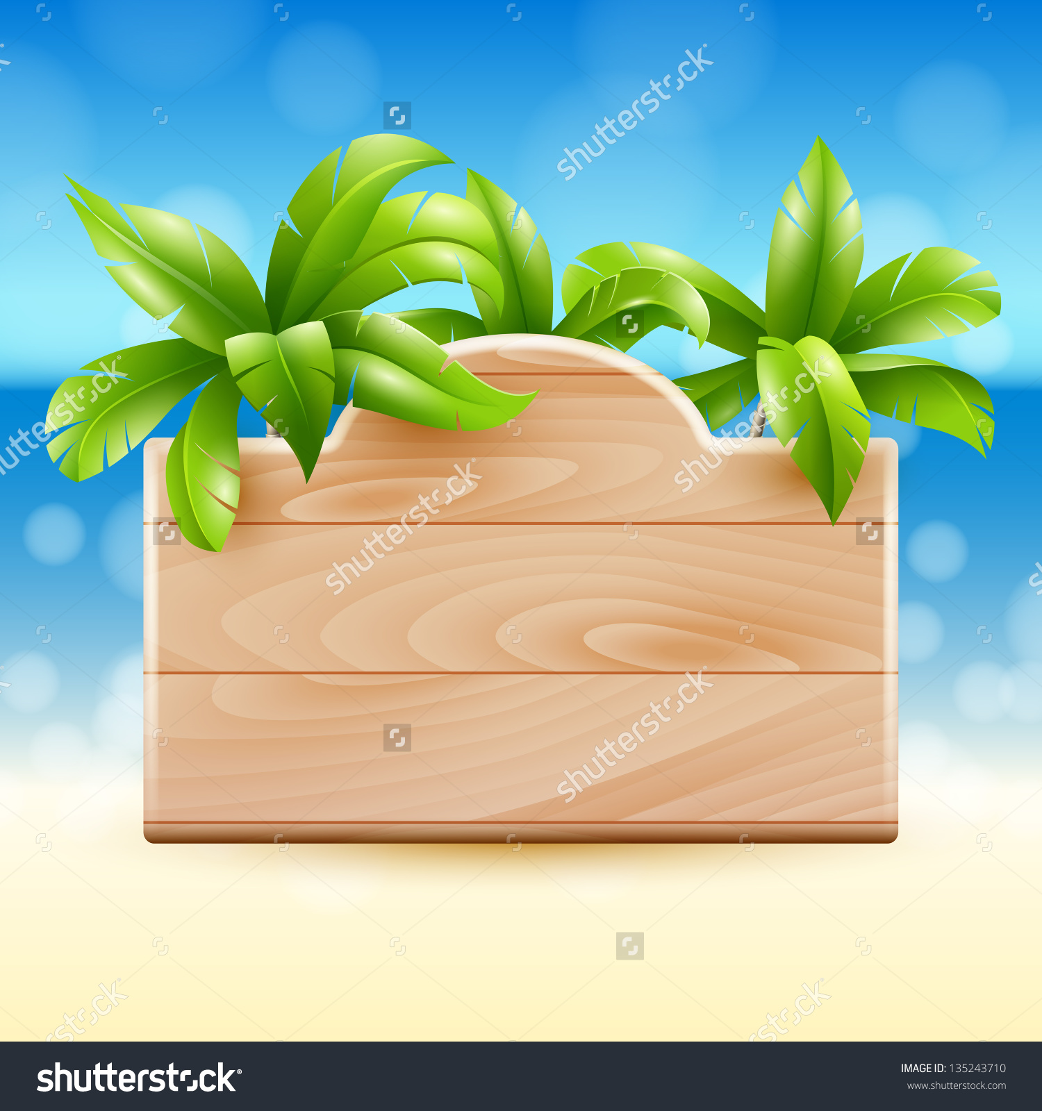 Illustration Tropical Beach Wooden Sign Coconut Stock Vector.