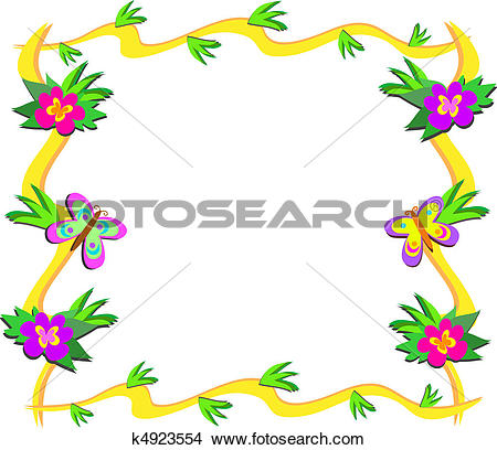 Clipart of Frame of Tropical Woods, Flowers, a k4923554.