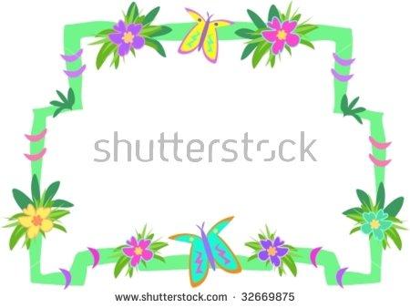 Frame Tropical Woods Flowers Butterflies Vector Stock Vector.