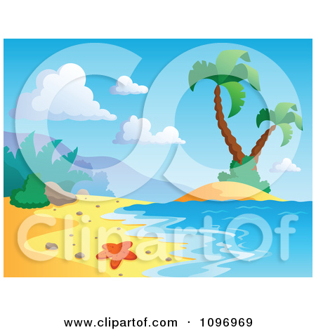 Clipart Blank Wood Sign On A Tropical Beach With Palm Trees.