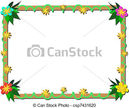 Vector Clipart of Frame of Tropical Plants and Wood.