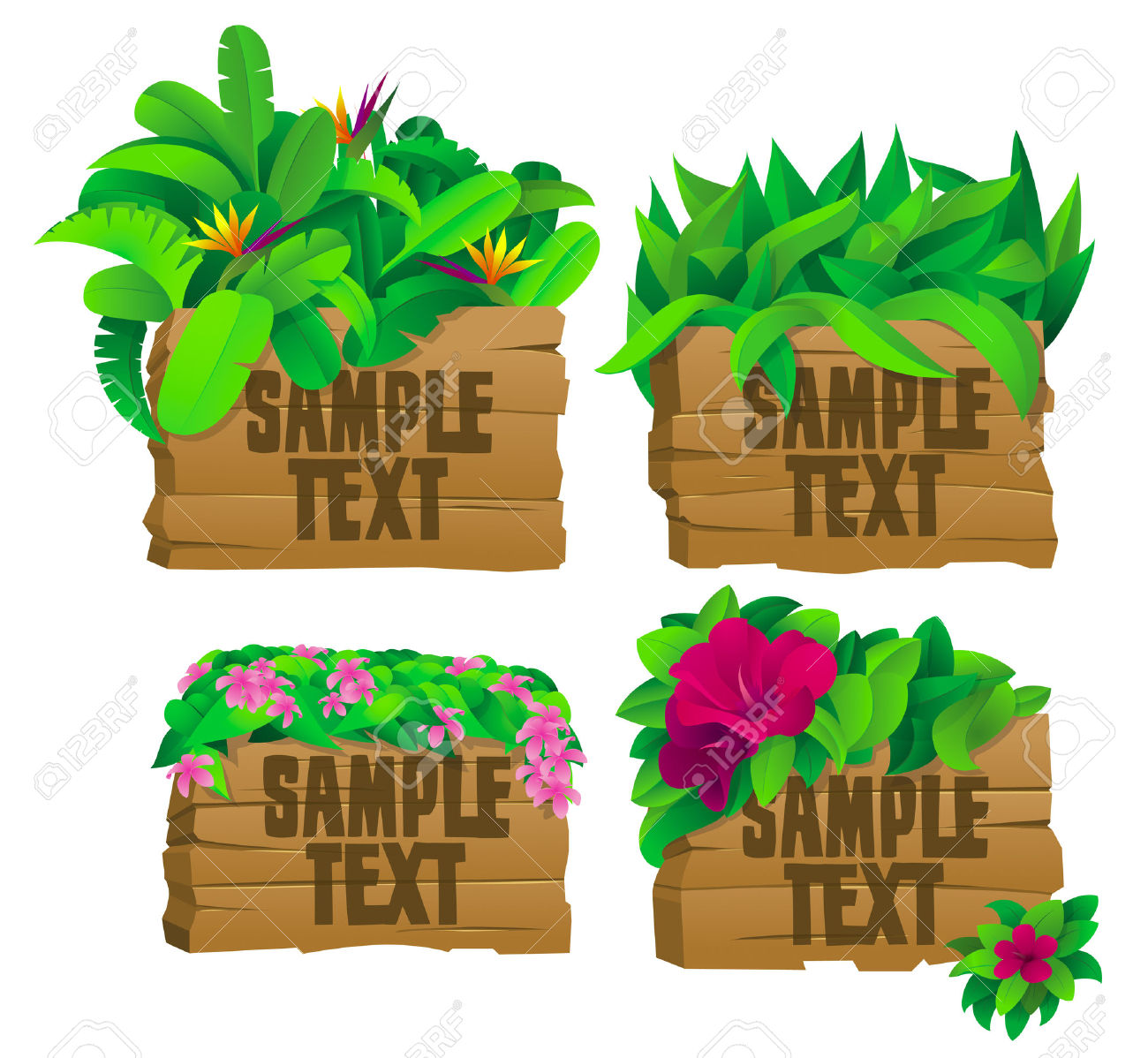 4 Tropical Wooden Signs With Flowers Royalty Free Cliparts.