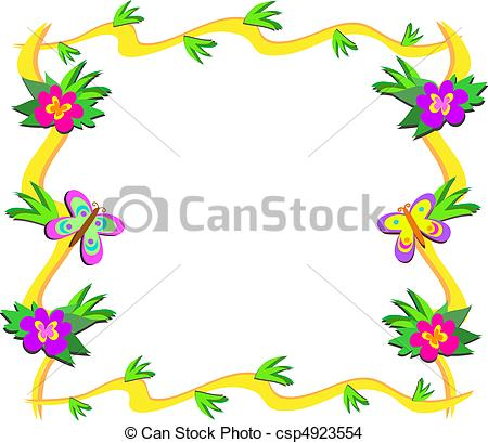 EPS Vector of Frame of Tropical Woods, Flowers, a.