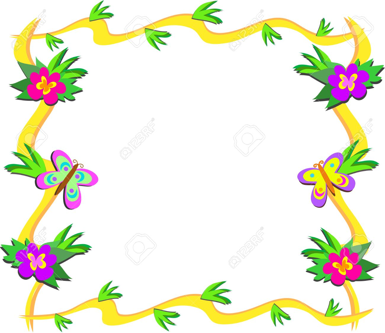 Frame Of Tropical Woods, Flowers, And Butterflies Royalty Free.