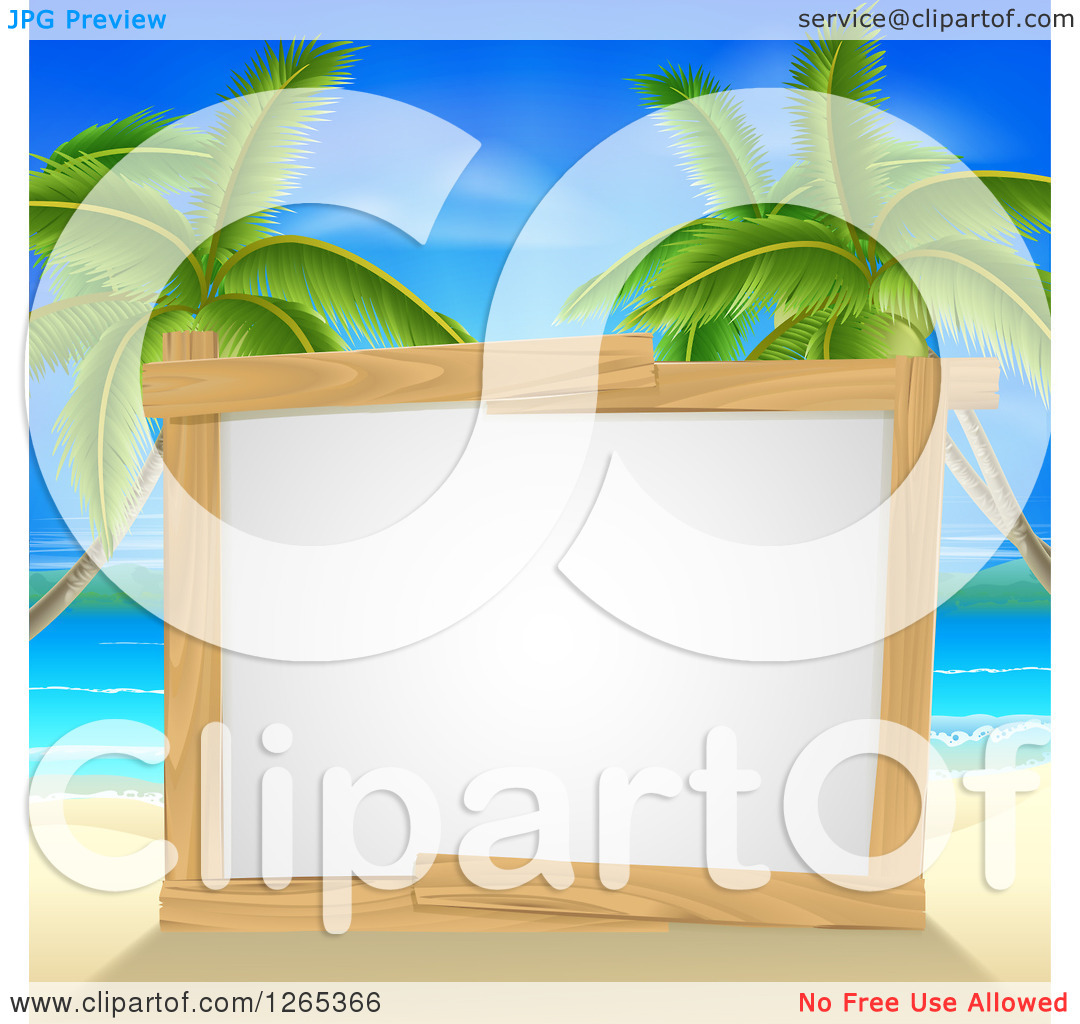 Clipart of a Blank Wood Framed Sign on a Tropical Beach with Palm.