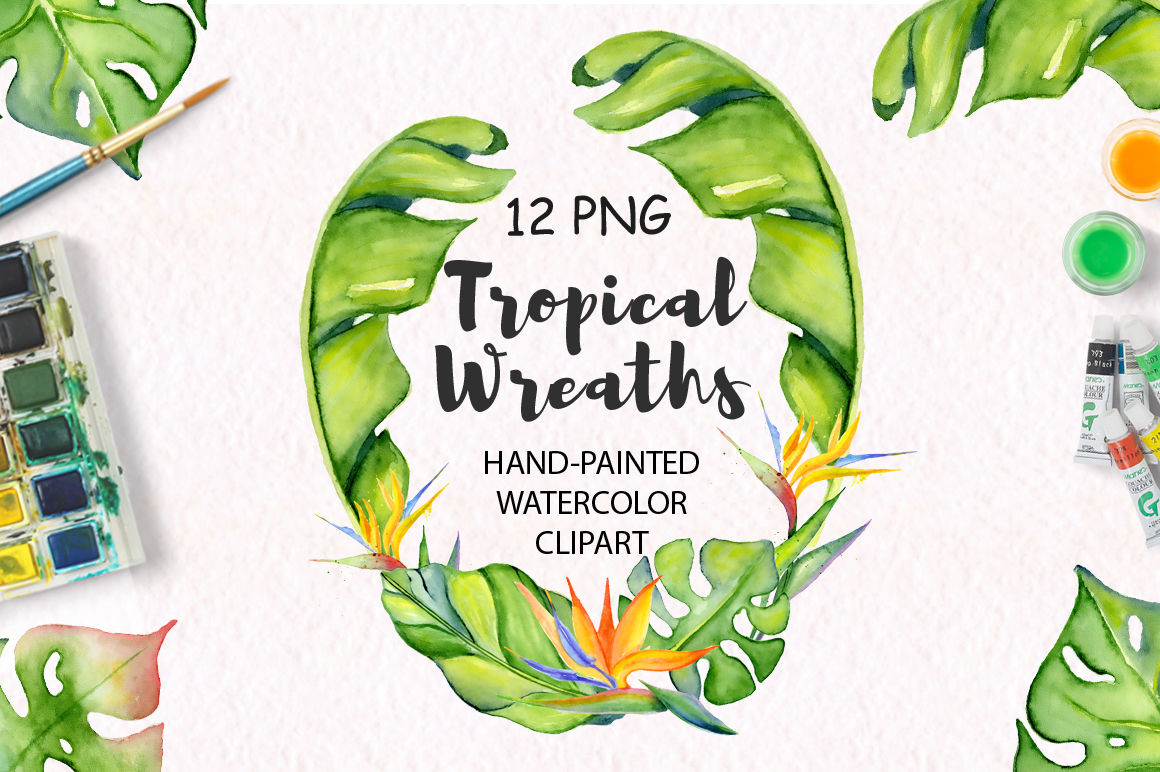 Tropical wreaths watercolor jungle clipart By EvgeniiasArt.