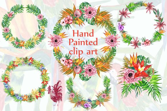 Tropic watercolor clipart TROPICAL FLOWERS Tropical Wreaths Flower bouquets  Summer clipart.