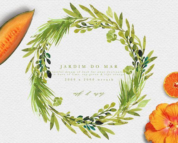 Watercolor Tropical Wreath.