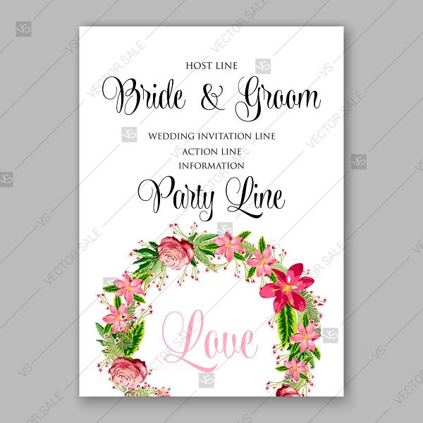 Tropical floral wreath vector clip art for wedding invitation.