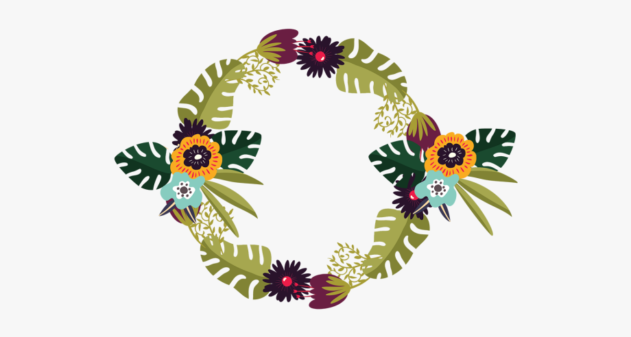 Tropical Flowers Wreath With Forest Png And.