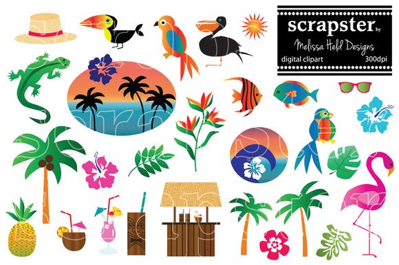 Tropical motifs clipart.