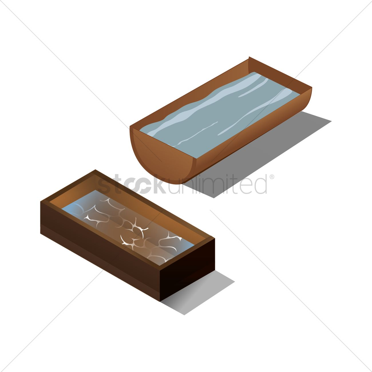 Wooden water trough Vector Image.