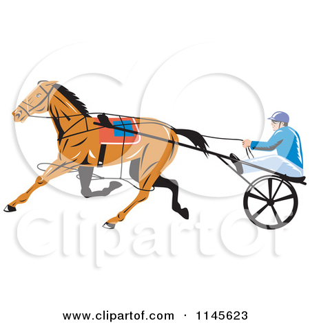 Clipart of a Retro Trotter Harness Horse Racer.