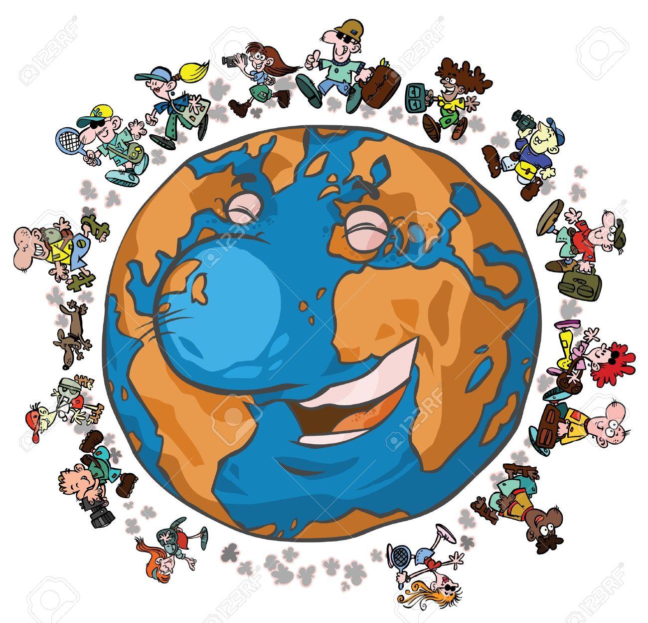 Cartoon Earth With Globe.