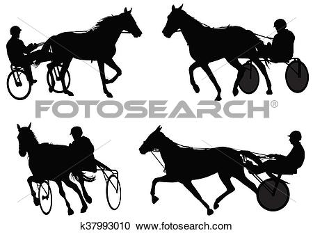 Clipart of Trotters race silhouettes k37993010.