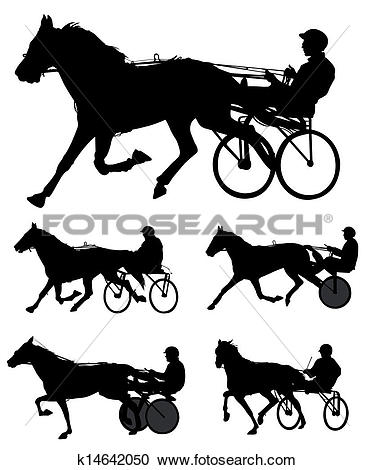 Clipart of trotters race silhouettes k14642050.