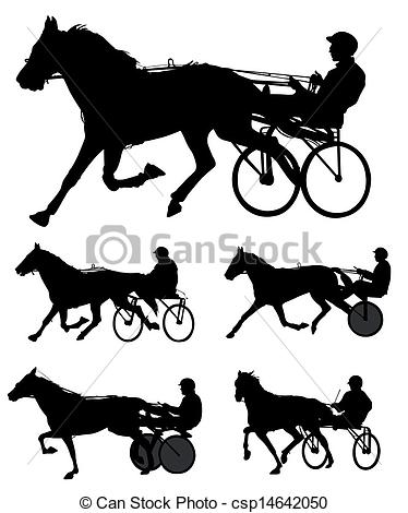 Clipart Vector of trotters race silhouettes.
