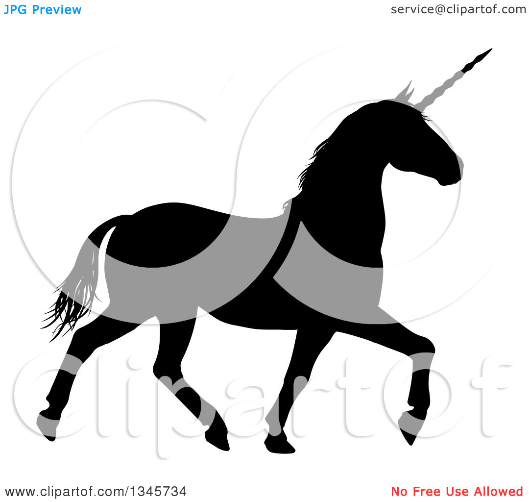 Clipart of a Black Silhouetted Unicorn Horse Trotting.