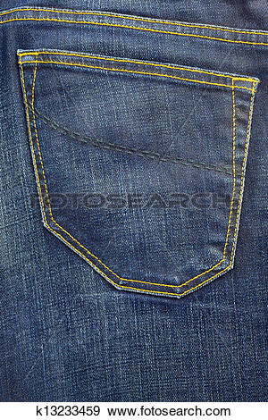 Stock Photograph of blue used denim jeans denim vintage pocket.