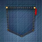 Vectors of Pocket Of blue Jeans. Vector.