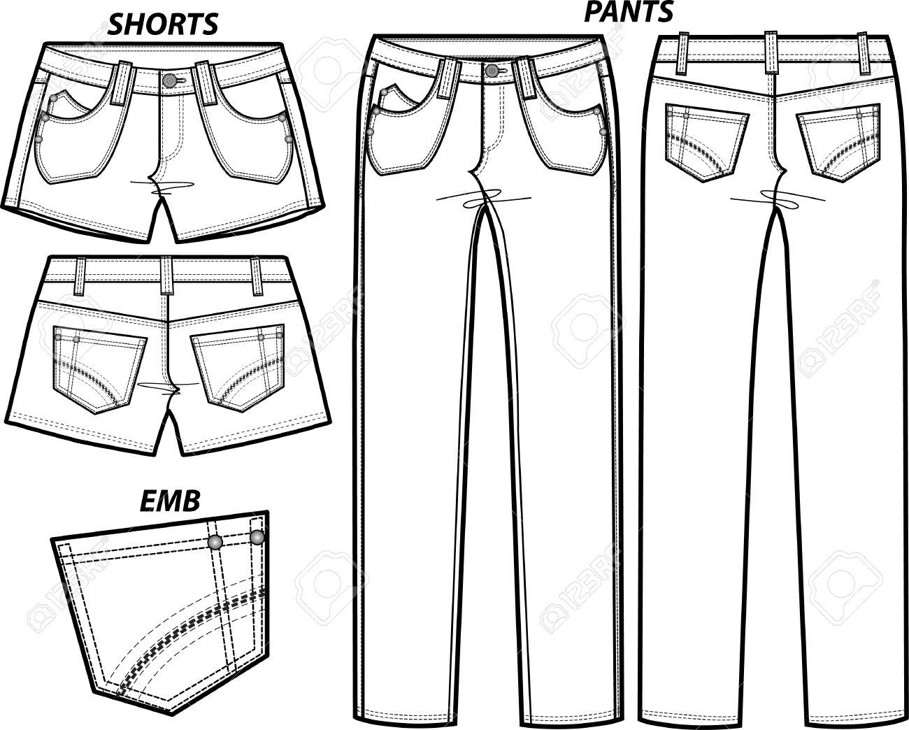 Lady Fashion Pants And Shorts Set Royalty Free Cliparts, Vectors.