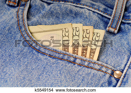 Stock Photo of Money in pants pocket k5549154.