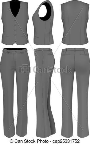 Clipart Vector of Formal black trousers suit for wome.