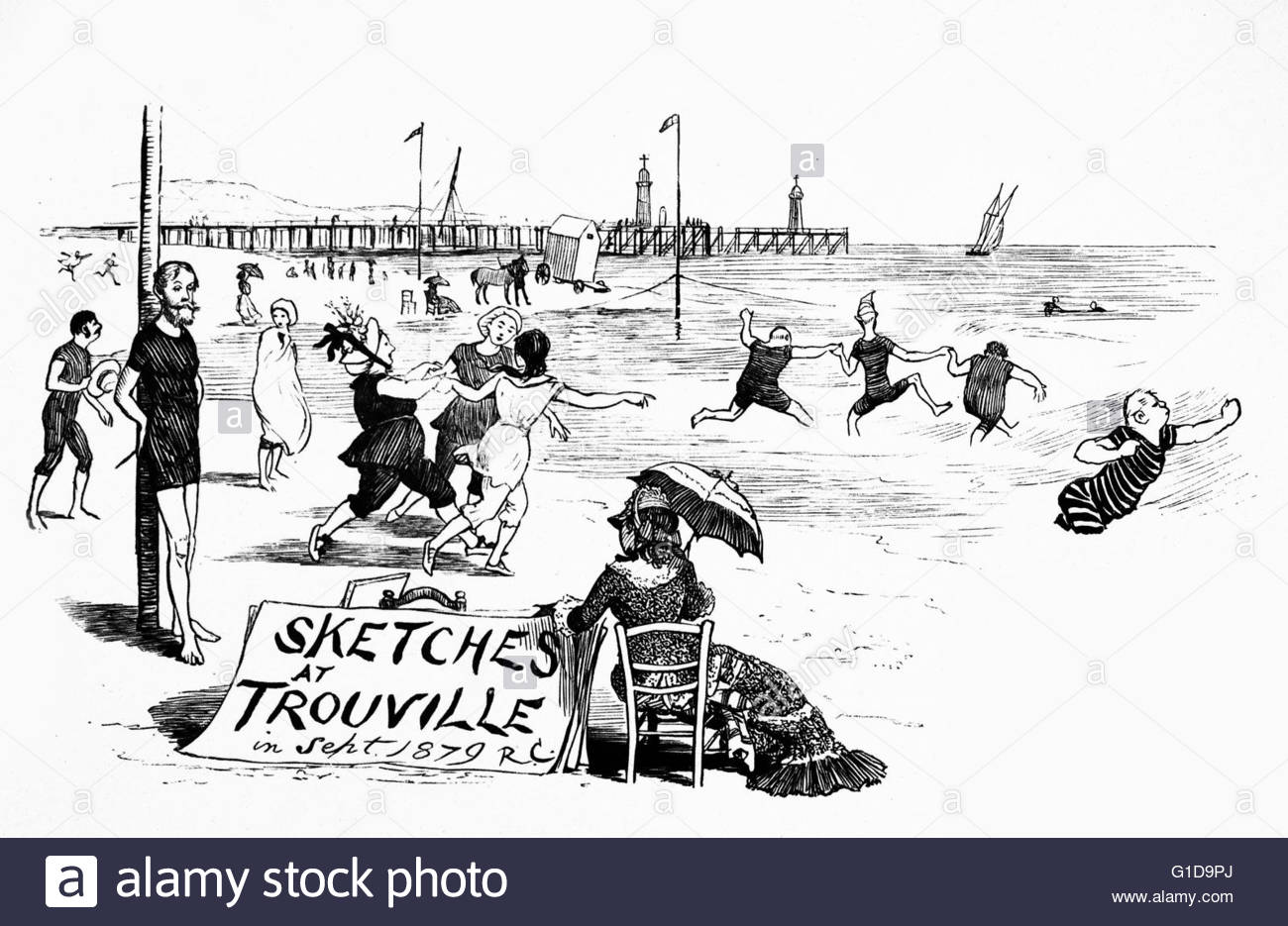 Illustration Shows French People Enjoying Summer On The Stock.