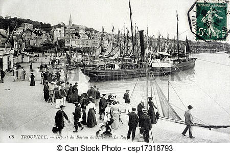 Stock Photographs of old postcard of Trouville, set sail from Le.