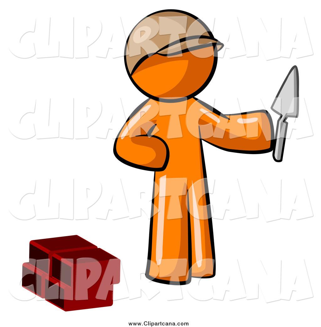 Clip Art of a Mason Orange Man Brick Layer Holding a Trowel by Leo.