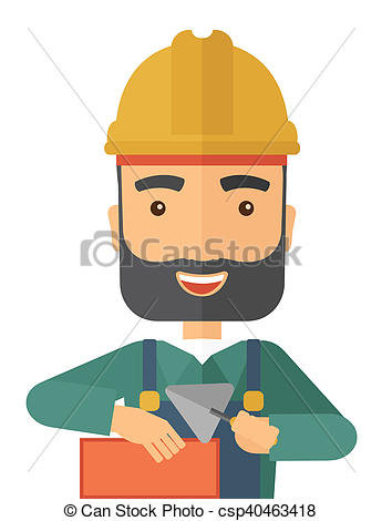 Clipart of Mason man with trowel in hand.