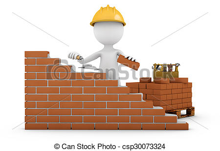 Clip Art of man with a trowel.