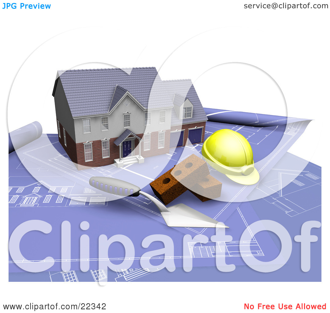 Clipart Illustration of a Custom Two Story Residential Home, A.