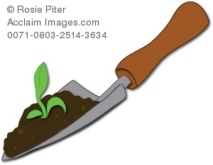 Clipart Illustration of a Garden Spade With Soil and a Seedling.