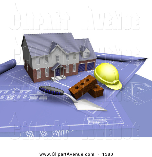 Avenue Clipart of a Custom Two Story Residential Home, a Trowel.