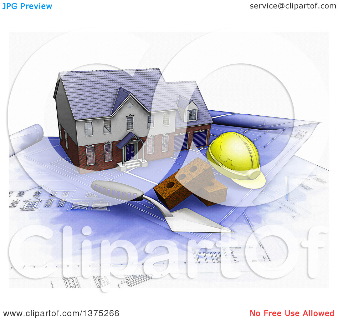 Clipart of a 3d Watercolor Styled Custom Two Story Residential.